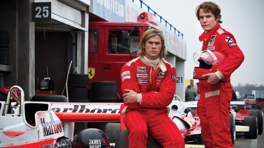 """Chris Hemsworth and Daniel Brühl star in """"Rush."""" Photo courtesy of Universal Pictures."""