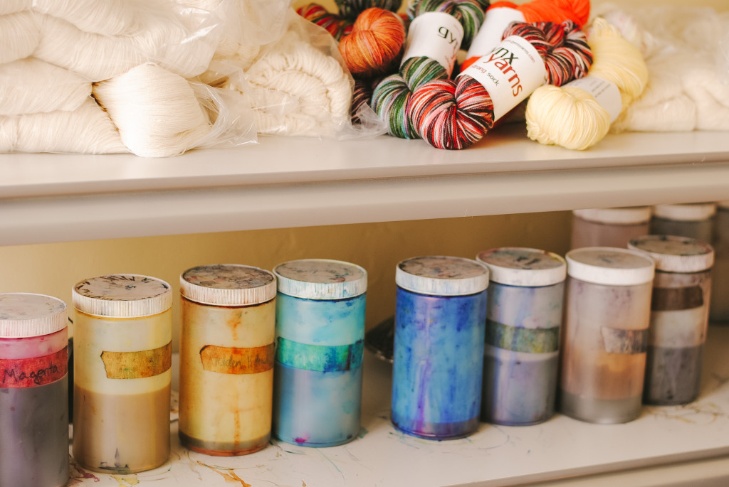 Laura Jimenez creates uniquely hand dyed yarn by combining a variety of dyes together. Photo by Au'Janae Roberts / Contributing Photographer
