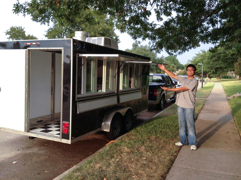 UNT alumnus Cuong Mai stands next to the Pickled Carrot truck after first acquiring it in Aug. 2012. Mai earned a bachelor's degree in hospitality management. Photo courtesy of the Pickled Carrot Facebook page.