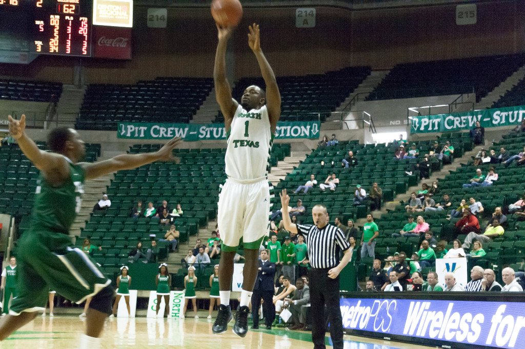Sophomore guard/forward Maurice Anieflok attempts a three-point shot against Tulane in the final minute of the game on Saturday. Photo by Edward Balusek / Staff Photographer