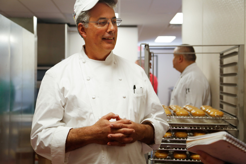 Master baker Bill Hunter for the Clark Hall bakery. Clark Hall's kitchen is being converted from grill to bakery to produce baked goods for UNT students. Photo by Zixian Chen / Senior Staff Photographer