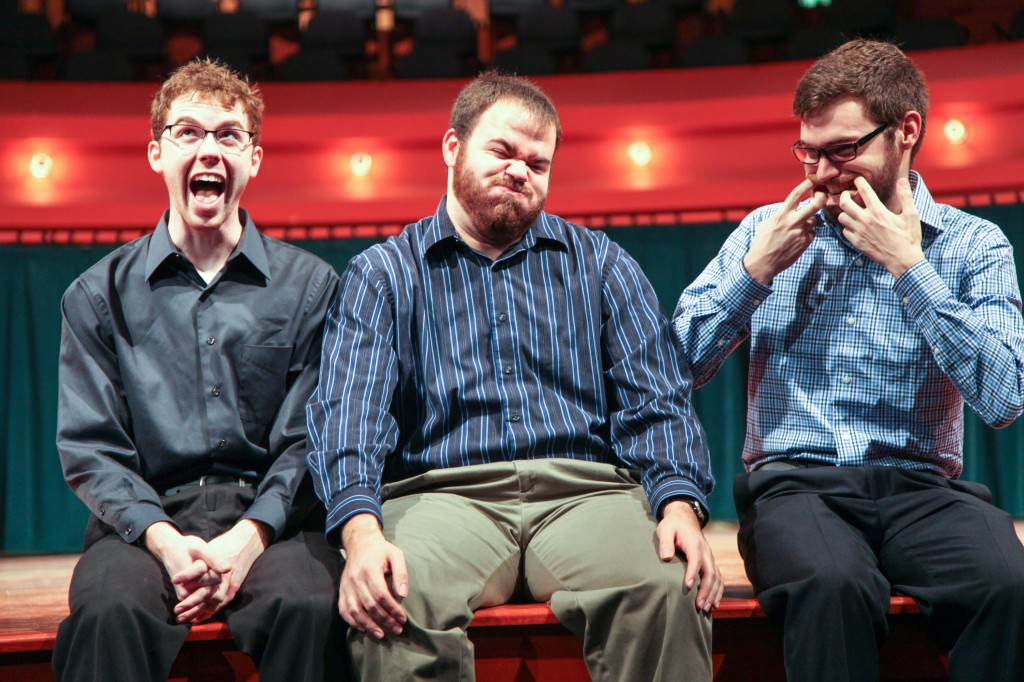 Winburn, Matthews and Goldsberry make some funny faces Saturday in the theater. Photo by Kristen Watson / Staff Photographer