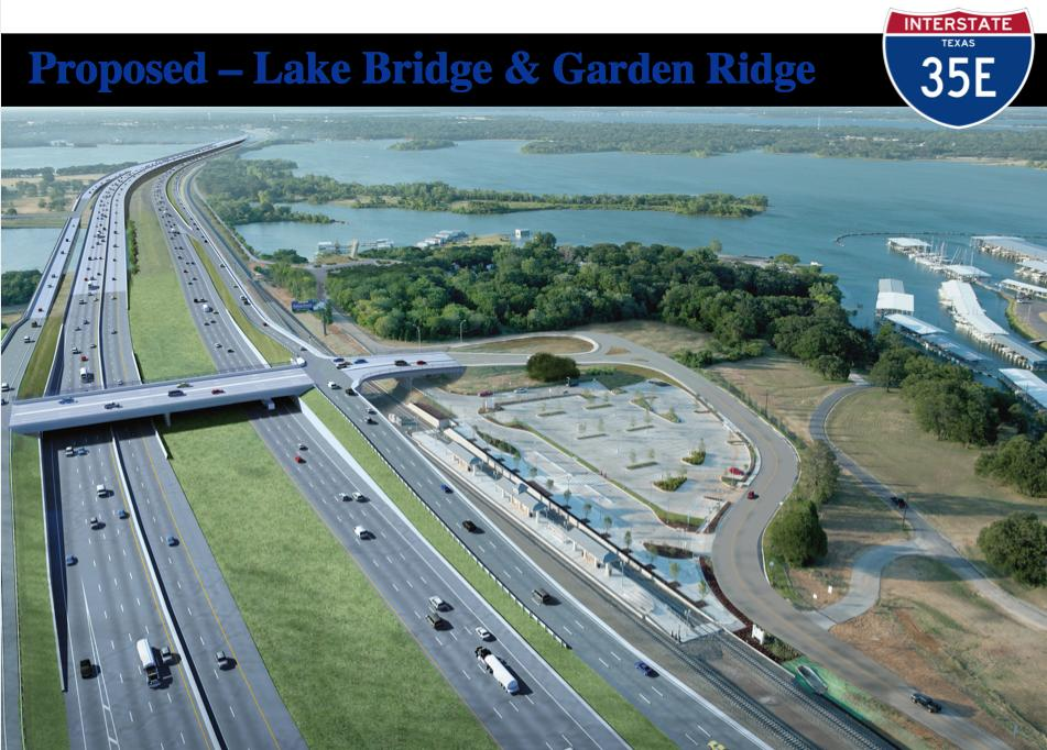 a rendering of the 35E bridge over Lake Lewisville, looking north from Garden Ridge. Current bridge structure will provide all north bound lanes, managed lanes and a hike and bike trail.  The new bridge structure will provide all main and frontage road southbound lanes. Graphic courtesy of Mark Nelson