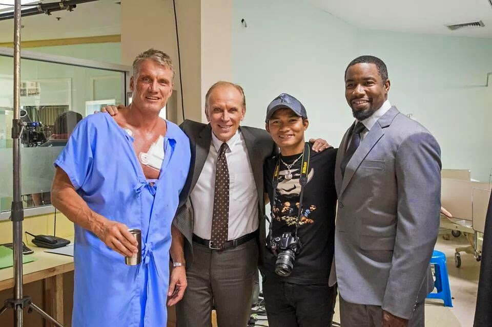 Dolph Lundgren, Tony Jaa, Peter Weller and Michael Jai White on the set of SKIN TRADE. Photo courtesy of Magnolia Pictures and Magnet Releasing.