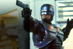 "Peter Weller dons the original robot armor in ""RoboCop."" Photo courtesy of Orion Pictures."