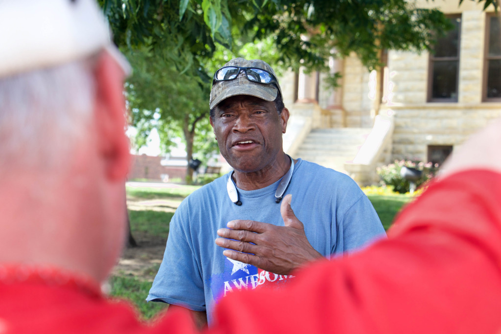 Willie Hudspeth, Denton County's NAACP president, speaks to an activist in this photo from July 2015.