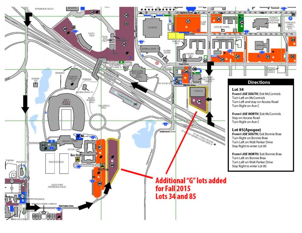 great news unt adds more parking spaces – north texas daily - parking map courtesy of the unt facebook page