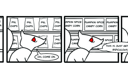Comics: Squirrels on Campus – Pumpkin Squirrel Latte
