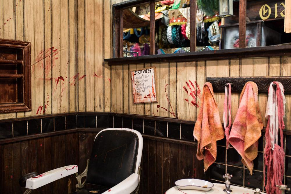 The barber shop from Sweeney Todd is among the elaborate decorations of Rose Costume.