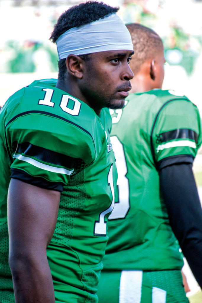 Jakii Moore pauses during a North Texas home game. Moore transferred to North Texas after UAB's football program was closed last season. Dylan Nadwodny | Intern Photographer