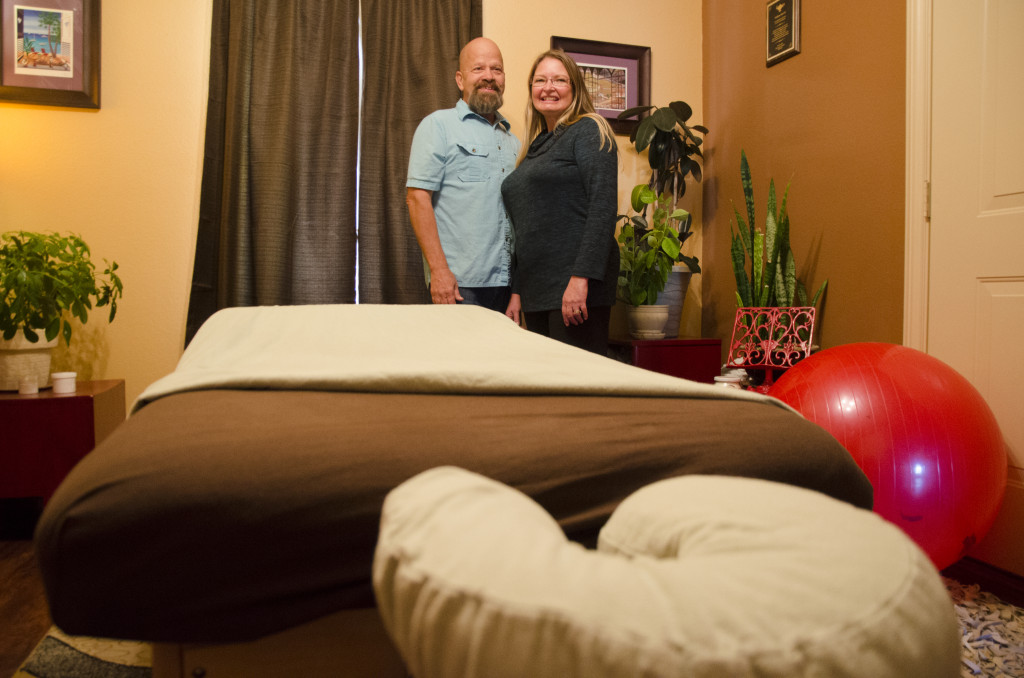 Nathan and Sherry Sarvis run a massage therapy practice out of their relaxing country home on the outskirts of Denton, Texas. Hannah Ridings | Senior Staff Photographer