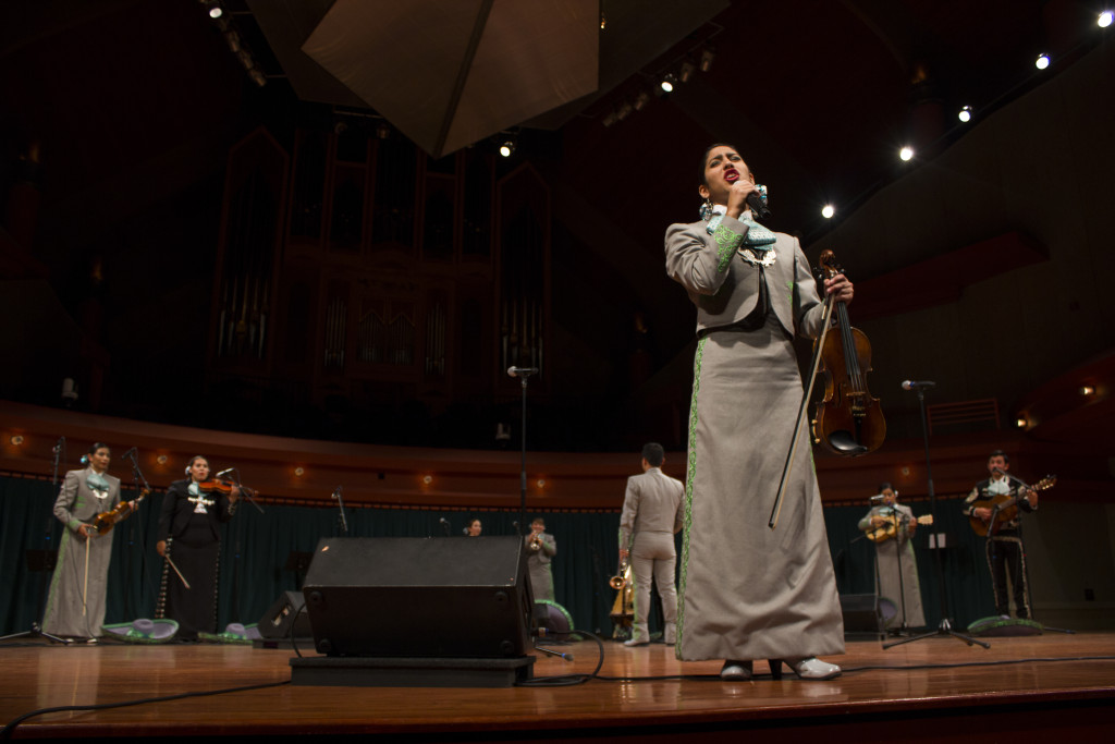 Mariachi Águilas de UNT performers sang and played their heart out at the concert held at Winspear Hall on Tuesday, Oct. 27, 2015. Paulina De Alva | Staff Photographer