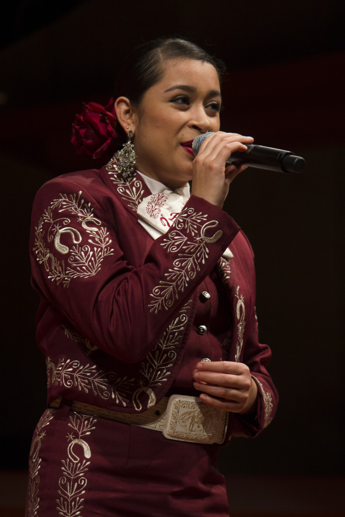 Vocalist from Ft. Worth Yadira Salas performed with both Mariachi UNTitlán and Mariachi Águilas de UNT at the concert held at Winspear Hall on Tuesday, Oct. 27, 2015. Paulina De Alva | Staff Photographer