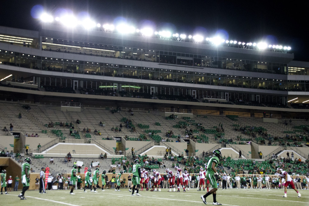 There were many empty seats at Apogee Stadium for the football team's game against Western Kentucky. Dylan Nadwodny | Staff Photographer