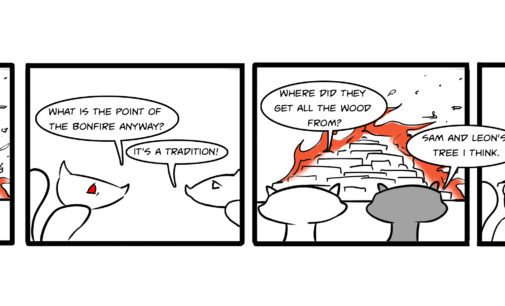 Comics: Squirrels on Campus – Bonfire