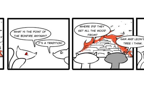 Comics: Squirrels on Campus – Bonfire