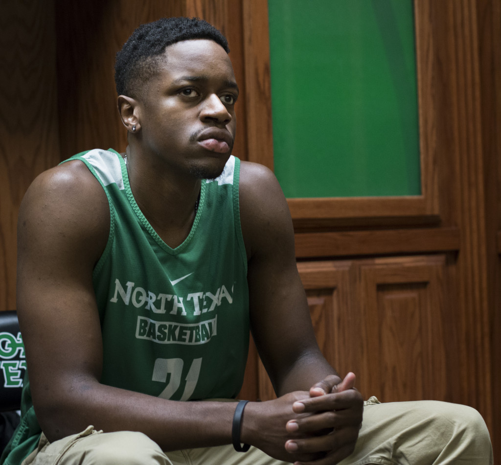 North Texas senior forward Eric Katenda's goal is to help UNT's team grow and go pro after this year. Colin Mitchell | Intern Photographer
