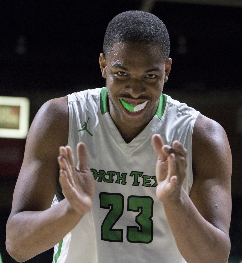 North Texas freshman center Rickey Brice (23) celebrates during a timeout after a block against Idaho. Colin Mitchell | Intern Photographer
