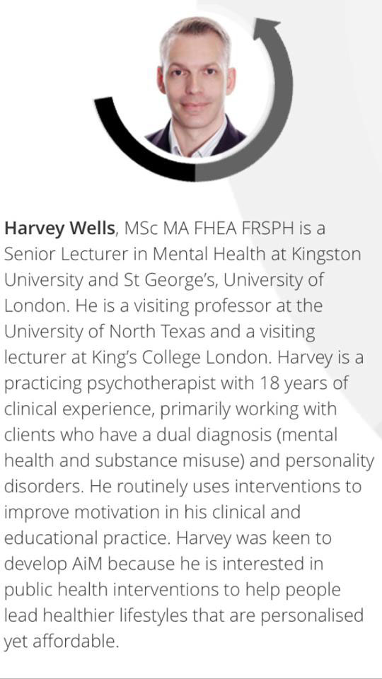 Harvey Wells is helping develop the app the public will be able to download on their smartphones. He was drawn to the public because of his interest in mental health. Screenshot | AiM App