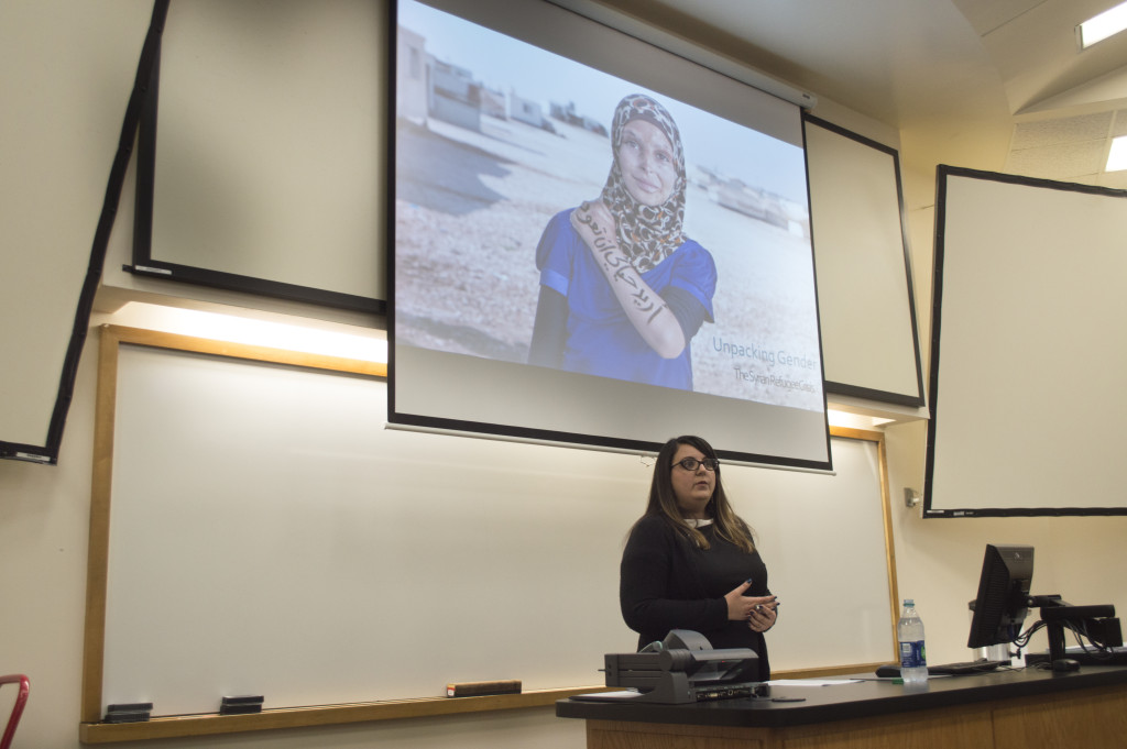 Dr. Rima Abunasser speaks on the issues of Syrian women and children in Refugee camps in the Middle East at Unpacking Gender: The Syrian Refugee Crisis on Nov.18. Haley Yates | Staff Photographer