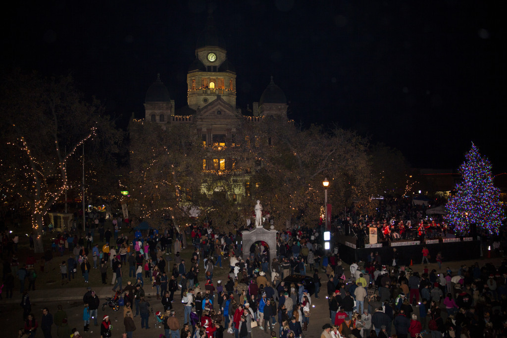 Hundreds of people fill the Denton square for the Holiday Lighting Festival on Friday, December 4, 2015. Photo by Kristen Watson/DRC