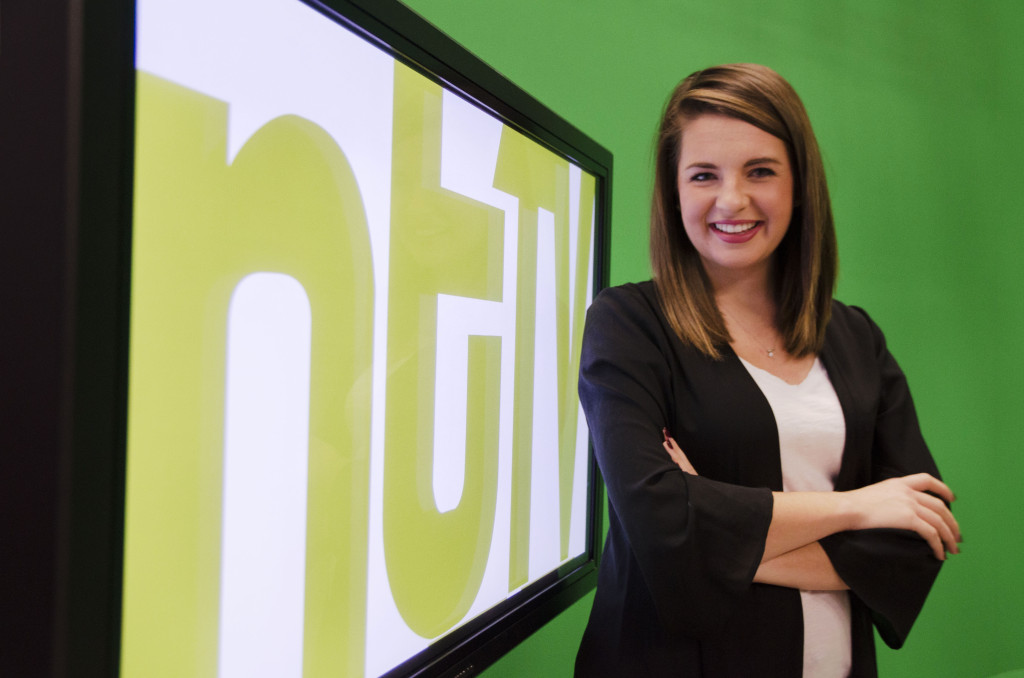 Converged broadcast media senior Priscilla Presley started out at NTTV as a freshman learning the ropes. Now she sits as a nightly news anchor and will have her own show for her last semester at UNT.  Hannah Ridings | Senior Staff Photographer