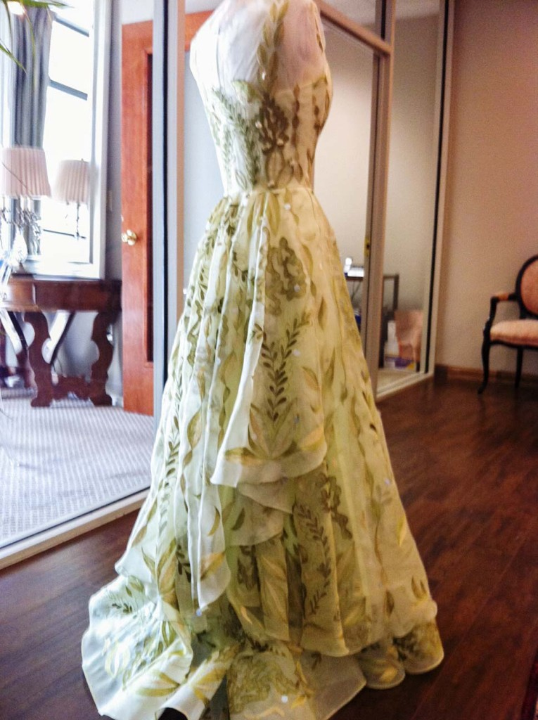 Triple layers of pale green silk organza form a bridal gown, entirely hand embroidered in silk floss and metallic thread. Approximately 280 hours to complete. Courtesy | Luis Acevedo