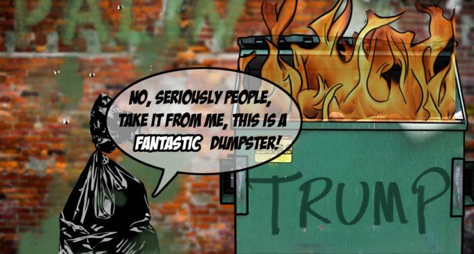 Cartoon: Hot Mess Endorses Dumpster Fire – Slate