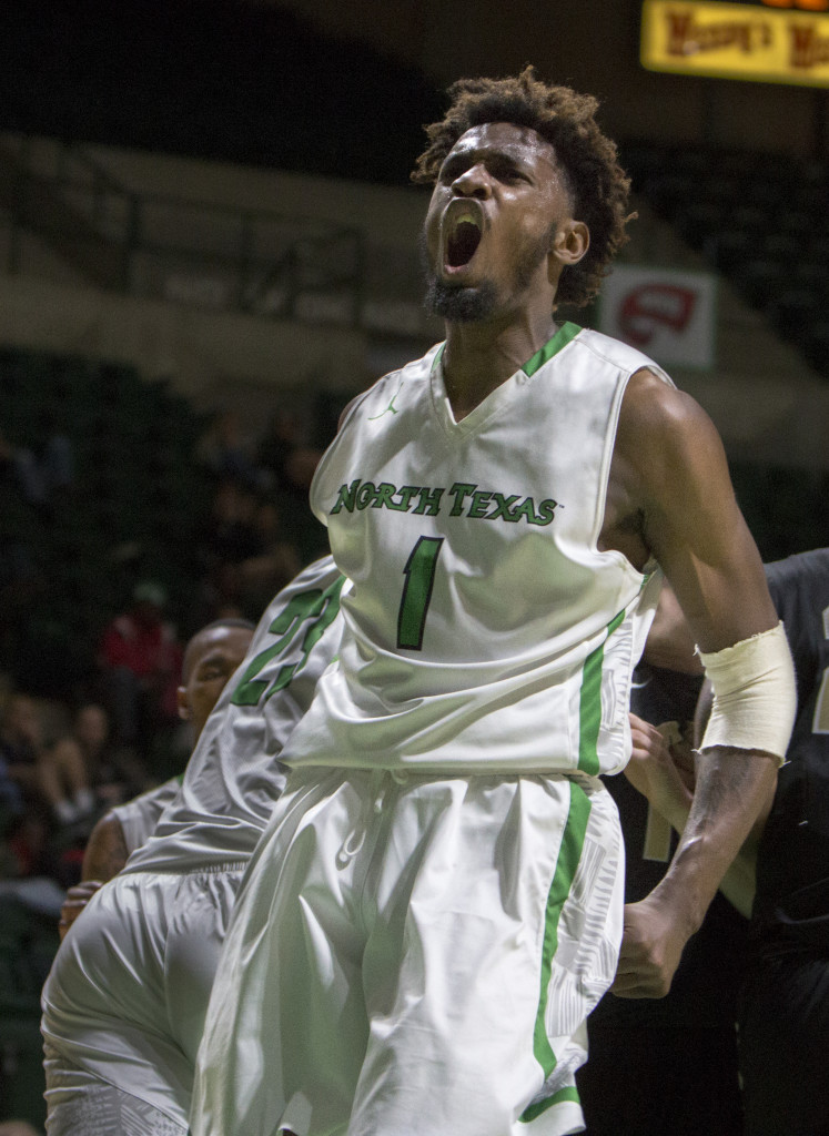 North Texas sophomore forward celebrates after a dunk against Idaho University. Colin Mitchell | Senior Staff Photographer