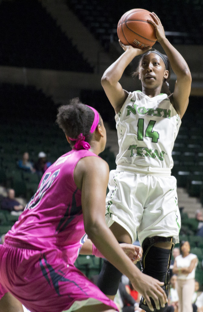 North Texas junior guard Candice Adams takes a shot at the free-throw line against Old Dominion University. Colin Mitchell | Senior Staff Photographer