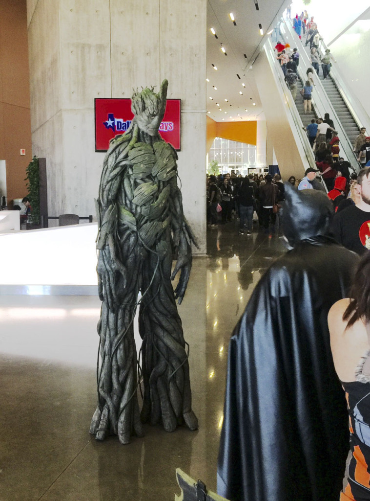 Professional cosplayer Calen Hoffman waits to pose with Fan Days attendees Feb. 13 in his Guardians of the Galaxy Groot costume. Kayleigh Bywater | Senior Staff Writer