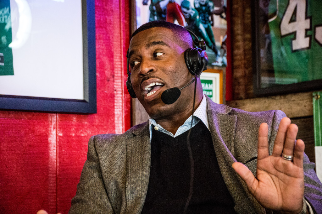 North Texas men's basketball head coach tells a story from when he was at another university on the Coach's Show at Rudy's BBQ. Dylan Nadwodny | Staff Photographer