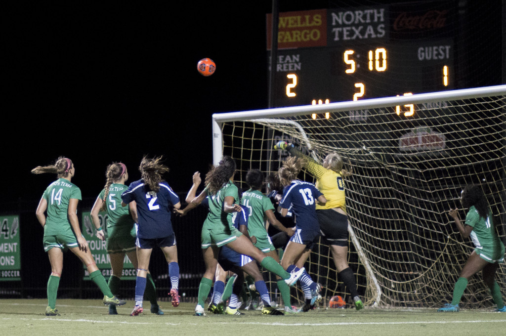 With Jackie Kerestine graduating, North Texas will have sophomore goalkeeper Brooke Bradley and recruit goalkeeper Miranda Schoening compete for the starting spot. Colin Mitchell | Senior Staff Photographer