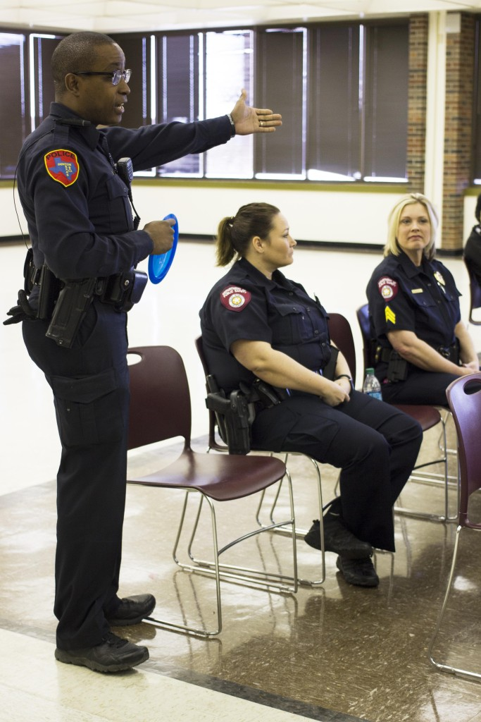 Denton Police Department Officer Malcolm McGuire says Denton PD officers would like to be invited to more town hall meetings and hear people out on their concerns and issues. Paulina De Alva | Staff Photographer