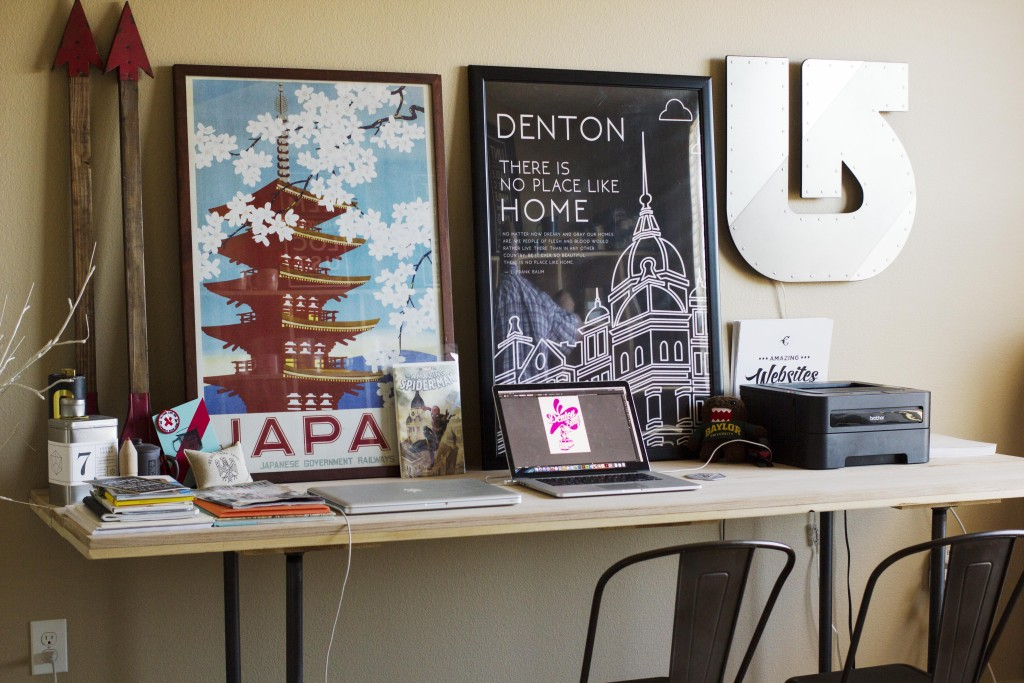 Owner of online shop Eddie Renz's office is filled with Denton Swag products that customers can buy on his online store. Paulina De Alva | Staff Photographer