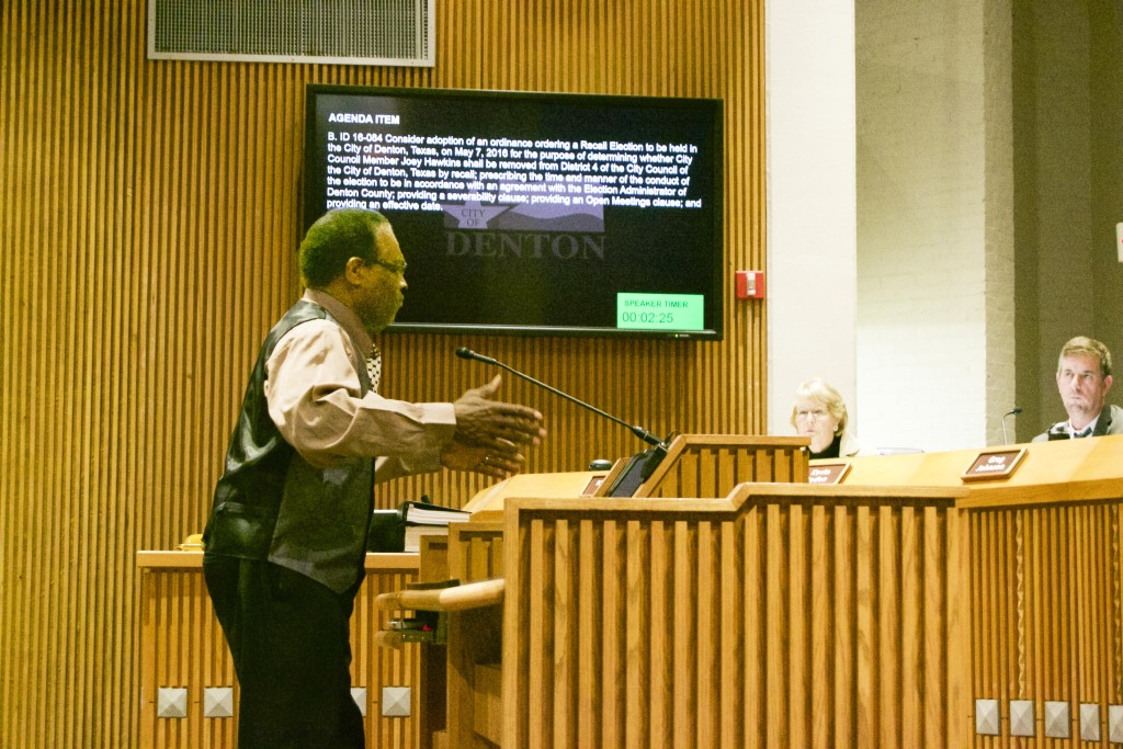 Vietnam Veteran and former school board member voices his concerns to the Denton City Council board.  Tristan Miller | Staff Photographer