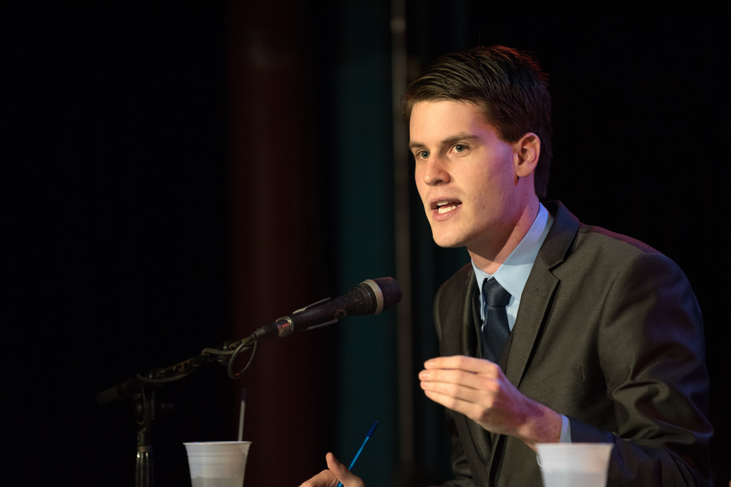 Denton, Texas 02/16/2016 Democratic candidate for the Texas House District 64, Connor Flanagan, debates his opponent, Paul Greco, at Dan's Silverleaf in Denton Tuesday night, February 16, 2016. Ranjani Groth/DRC