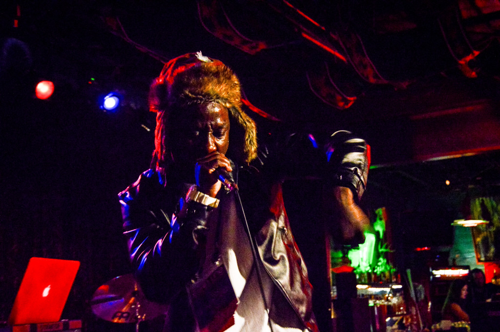 "Rapper ""King Pap"", first performer of the night, works up a sweat. Trevor Lloyd 