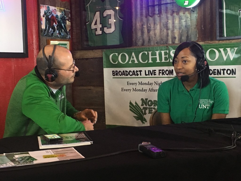 Women's head coach Jalie Mitchell and Steven Bartolotta covering the upcoming week in North Texas basketball at Rudy's BBQ. Alex Lessard | Associate Sports Editor