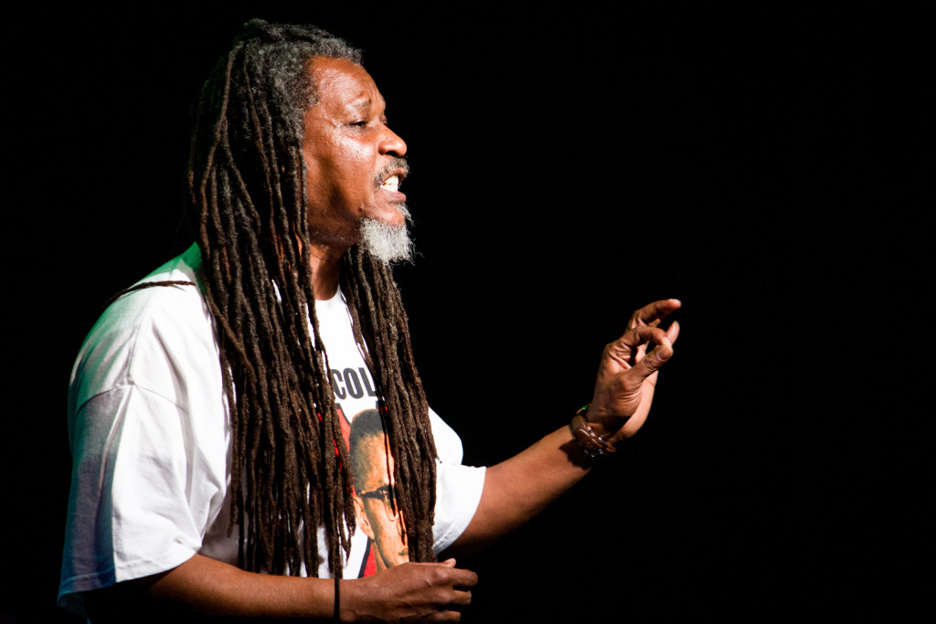 Poet, author and host A.J. Houston performs at a spoken word event at the Black Box Theatre on Saturday January 31, 2015. Paulina De Alva | Staff Photographer