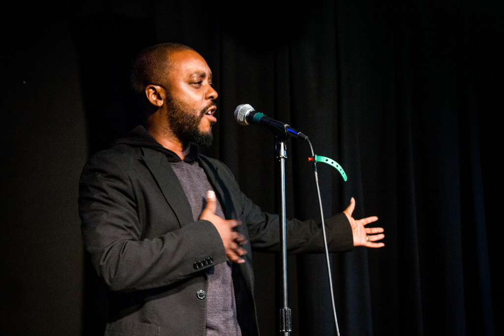 Artist Gabreal Lyrix performs a piece he wrote at a spoken word event at the Black Box Theatre on Saturday January 31, 2015. Paulina De Alva | Staff Photographer
