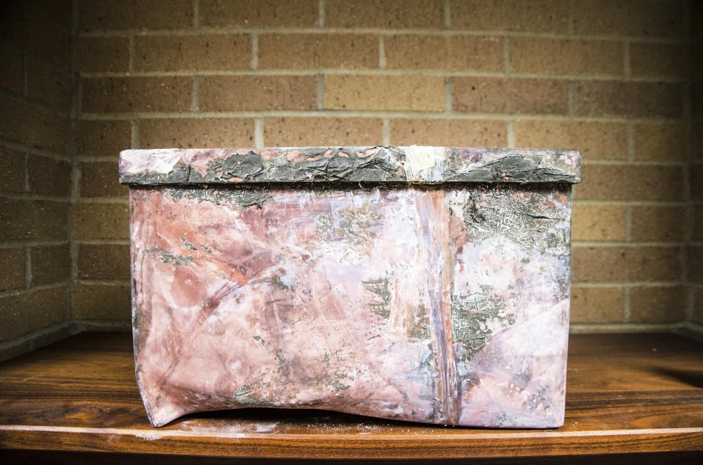 The 1988 time capsule sits on a shelve after being dug up in 2015. Hannah Ridings | Senior Staff Photographer
