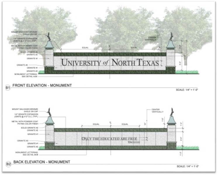 Blueprints of the new seal provided by UNT.
