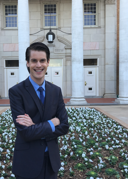 Connor Flanagan poses outside the Hurley Administration Building on campus. He's running as a Democrat in the race for Texas House District 64. Courtesy | Facebook