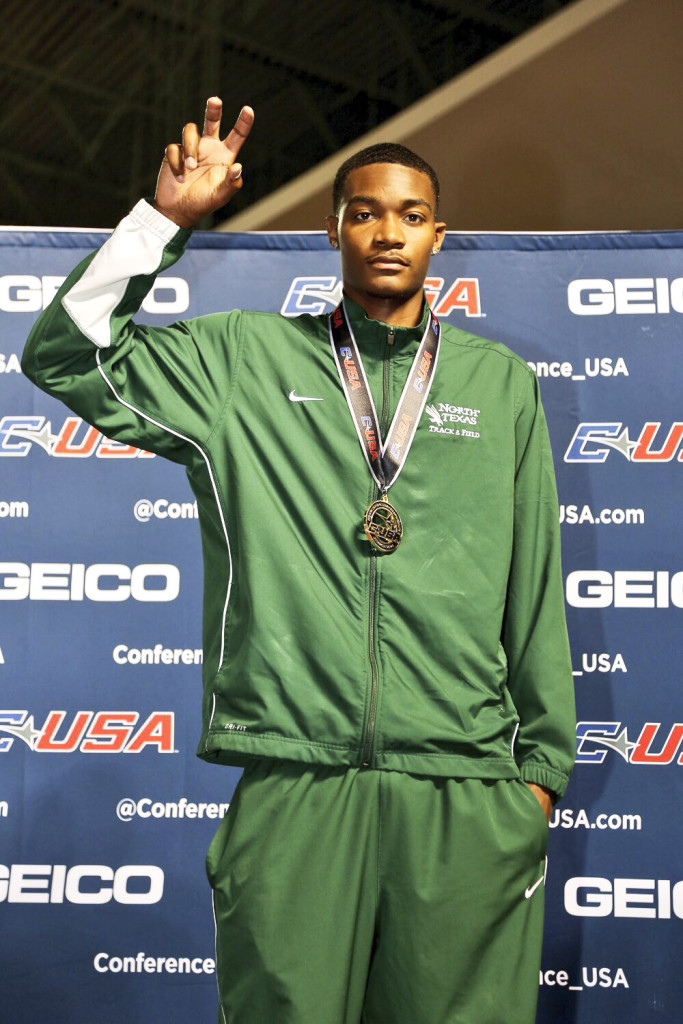 Integrated studies business senior Eddie Wilcox poses for a photo after winning gold in the men's high jump with a career best 2.17 meters. Courtesy | Conference USA