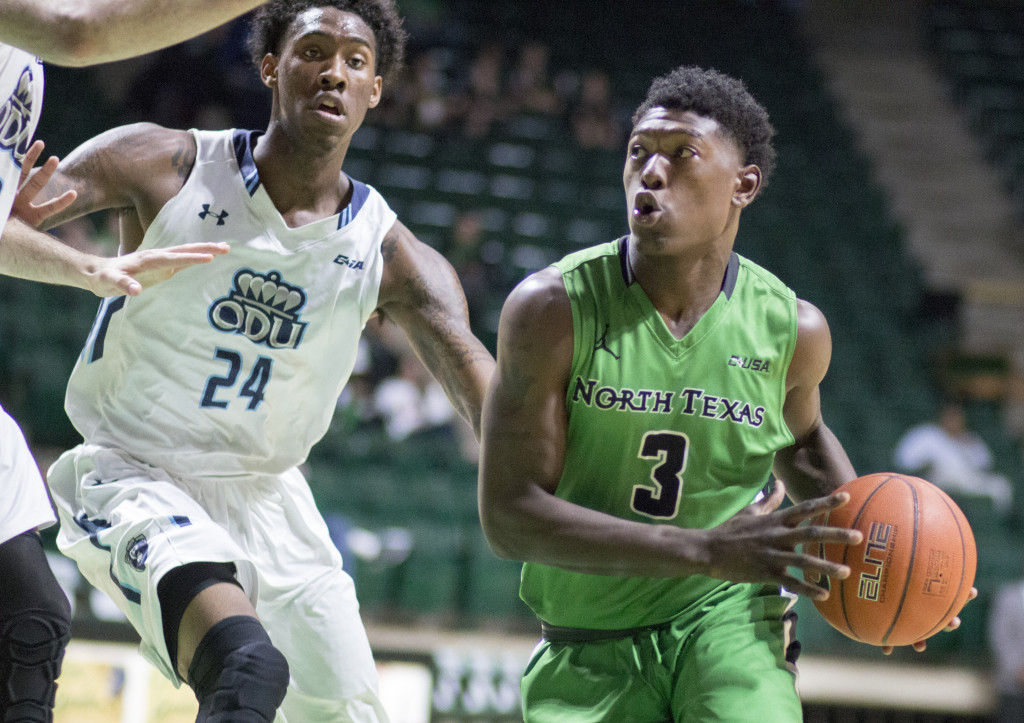North Texas freshman guard Ja' Michael Brown looks for a pass on the baseline against Old Dominion University. Colin Mitchell | Senior Staff Photographer