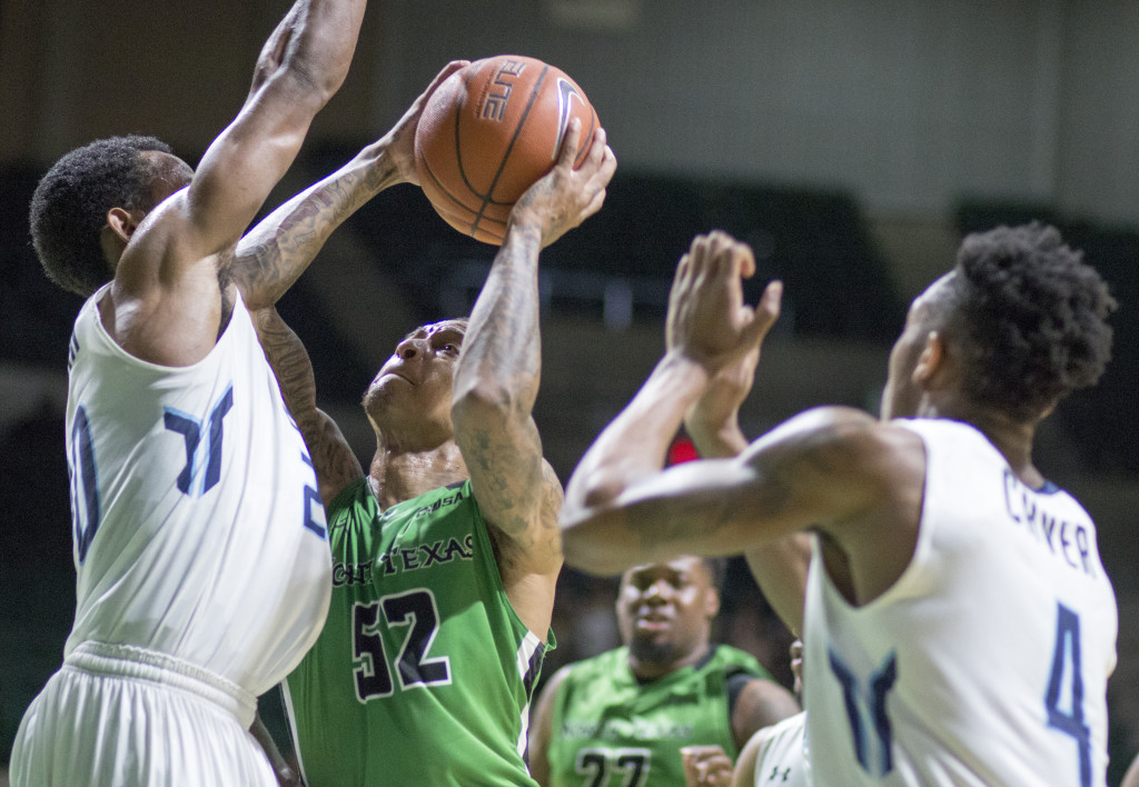 North Texas junior guard J-Mychal Reese drives the basket for a layup against Old Dominion University. Colin Mitchell | Senior Staff Photographer