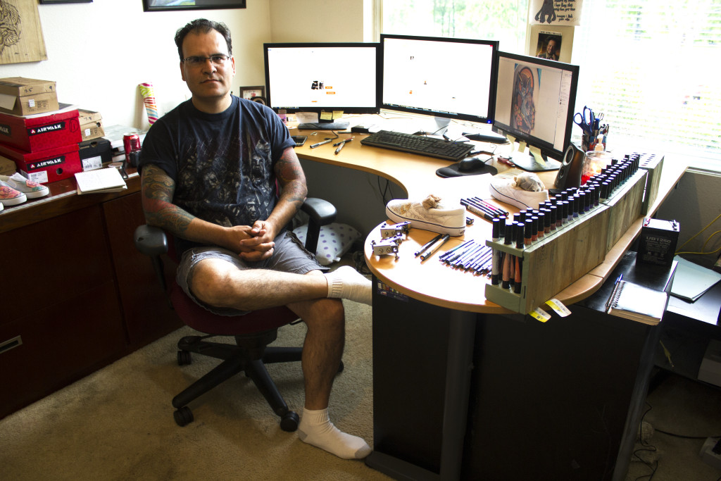"Former tattoo artist Ernie Moreno is the owner of an online shop, ""Tattoo My Shoes,"" where people pay him to make tattoo-style designs on canvas shoes. Paulina De Alva 