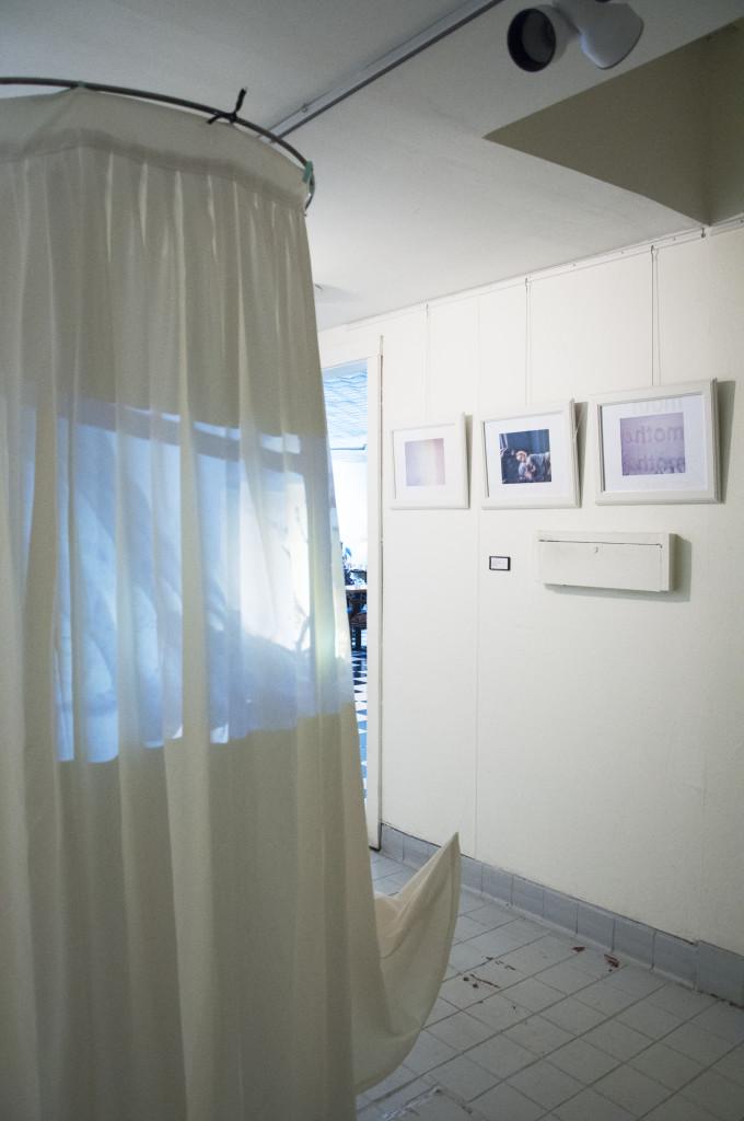 Yukari Nakamichi's sculpture, Mom's Skirt, hangs in front of Samantha Conlon's digital print works Daughters. Sarah Bradbury | Staff Photographer