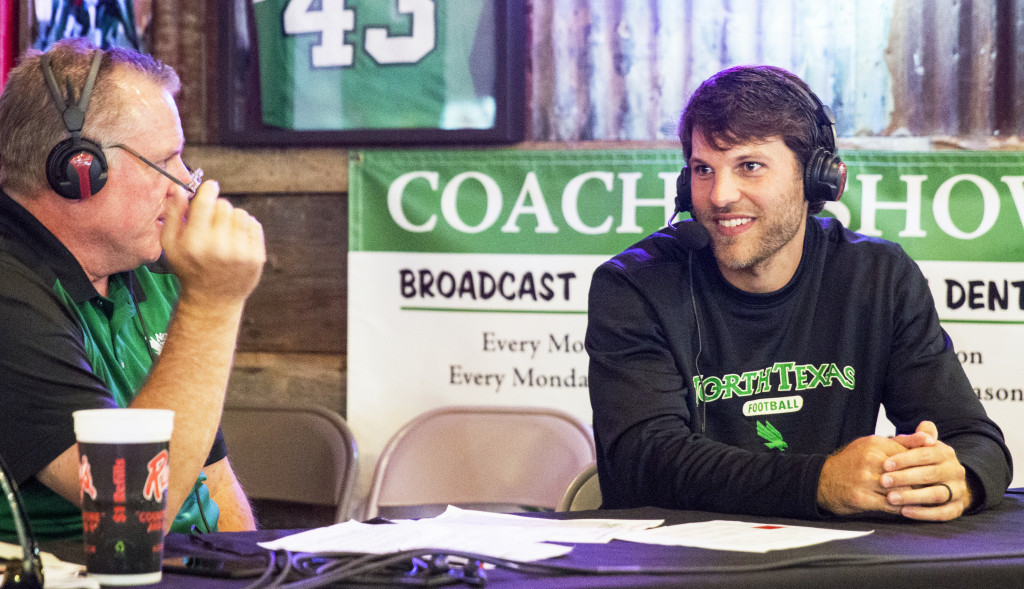 Offensive coordinator Graham Harrell said that depth could be an issue for North Texas. Colin Mitchell | Senior Staff Photographer